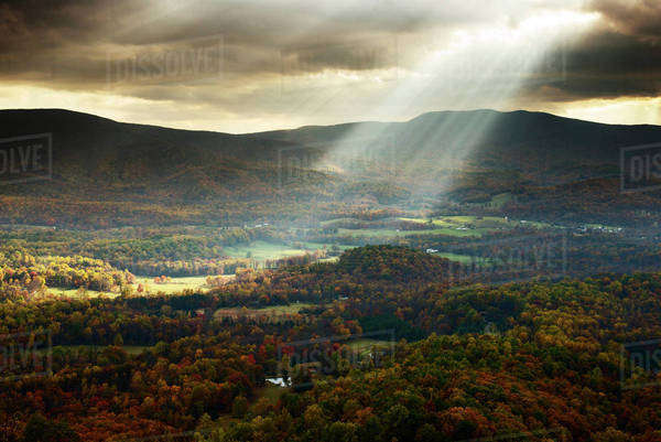 Sunbeams piercing through clouds onto wooded valley Royalty-free stock photo