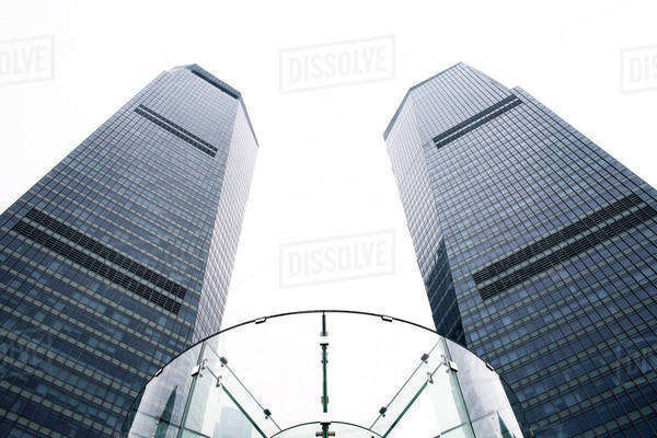 Low angle view of Shanghai International Finance Centre against clear sky Royalty-free stock photo