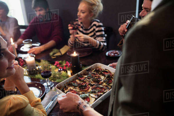 Friends enjoying dinner party Royalty-free stock photo