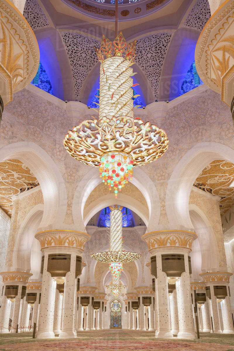 Illuminated Interior With Crystal Chandeliers In Sheikh Zayed Mosque Stock Photo Dissolve