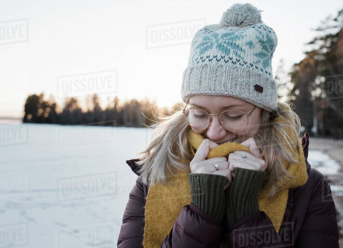 Portrait of a woman wrapped up warm whilst walking in Sweden Royalty-free stock photo