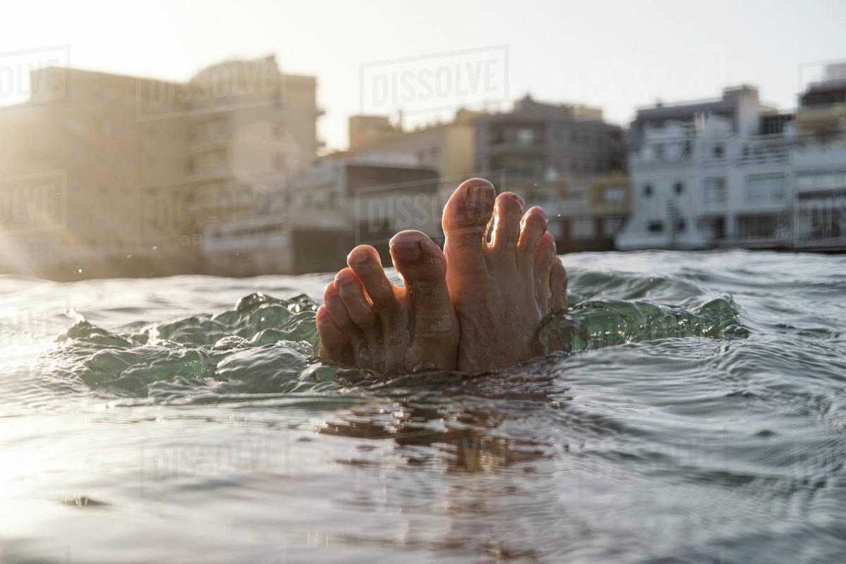 Feet selfie in the sea Royalty-free stock photo