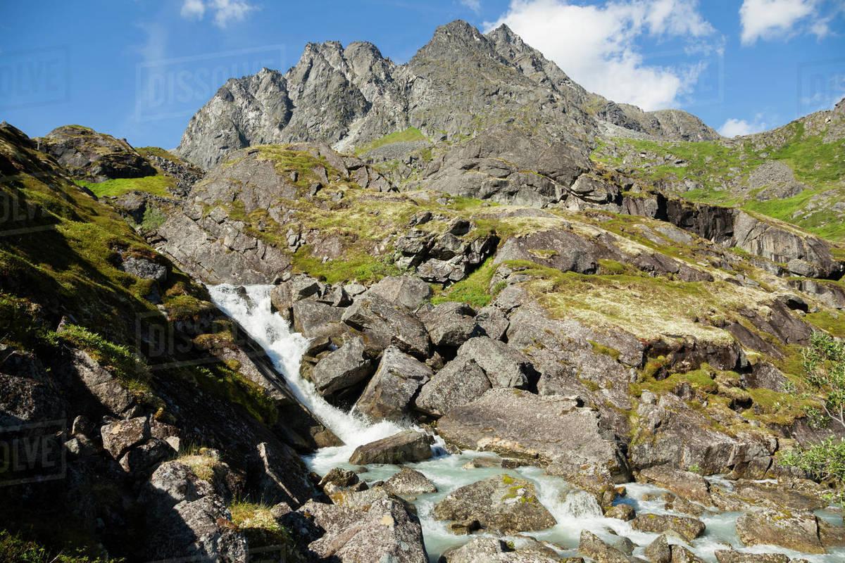 Waterfall below Morning Glory Peak, Talkeetna Mountains, Alaska Royalty-free stock photo