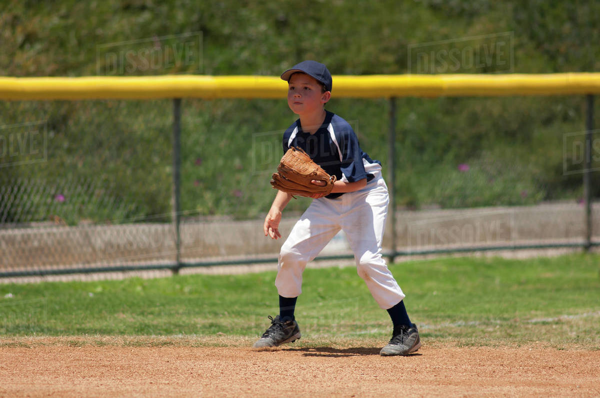 Little League baseball infielder ready for a ground ball Royalty-free stock photo