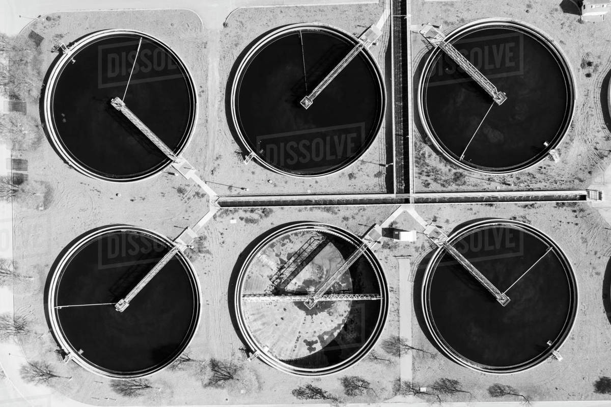 Water Treatment Tanks in Aerial Black and White Royalty-free stock photo