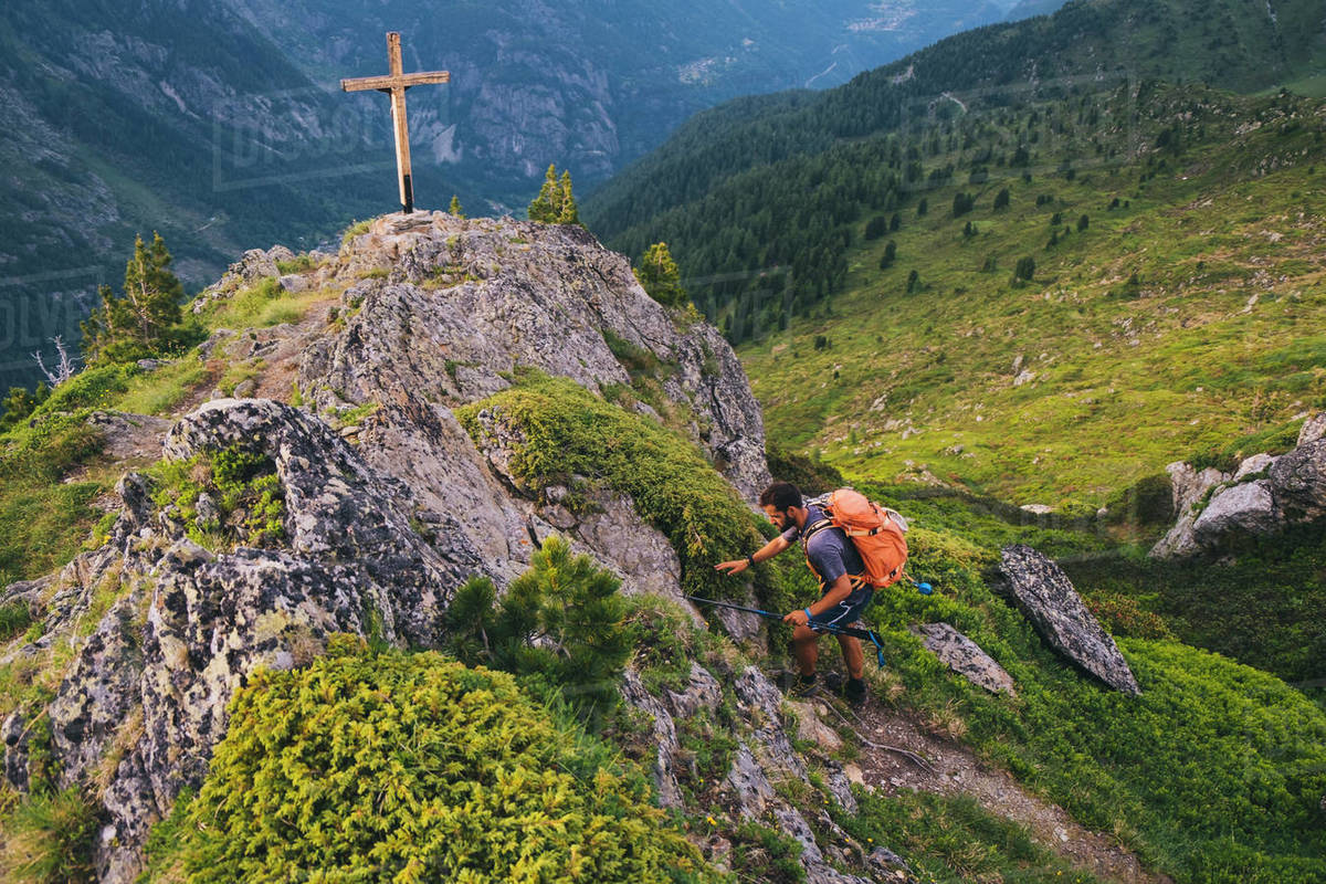 Young hiker reaches the summit of Aiguillette des Posettes, Chamonix. Royalty-free stock photo