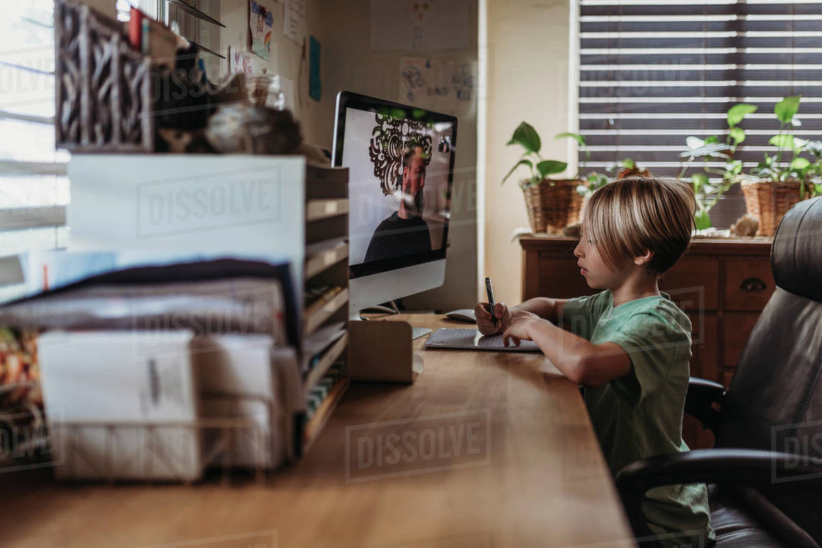 Midrange view of teacher and student learning over computer classes Royalty-free stock photo