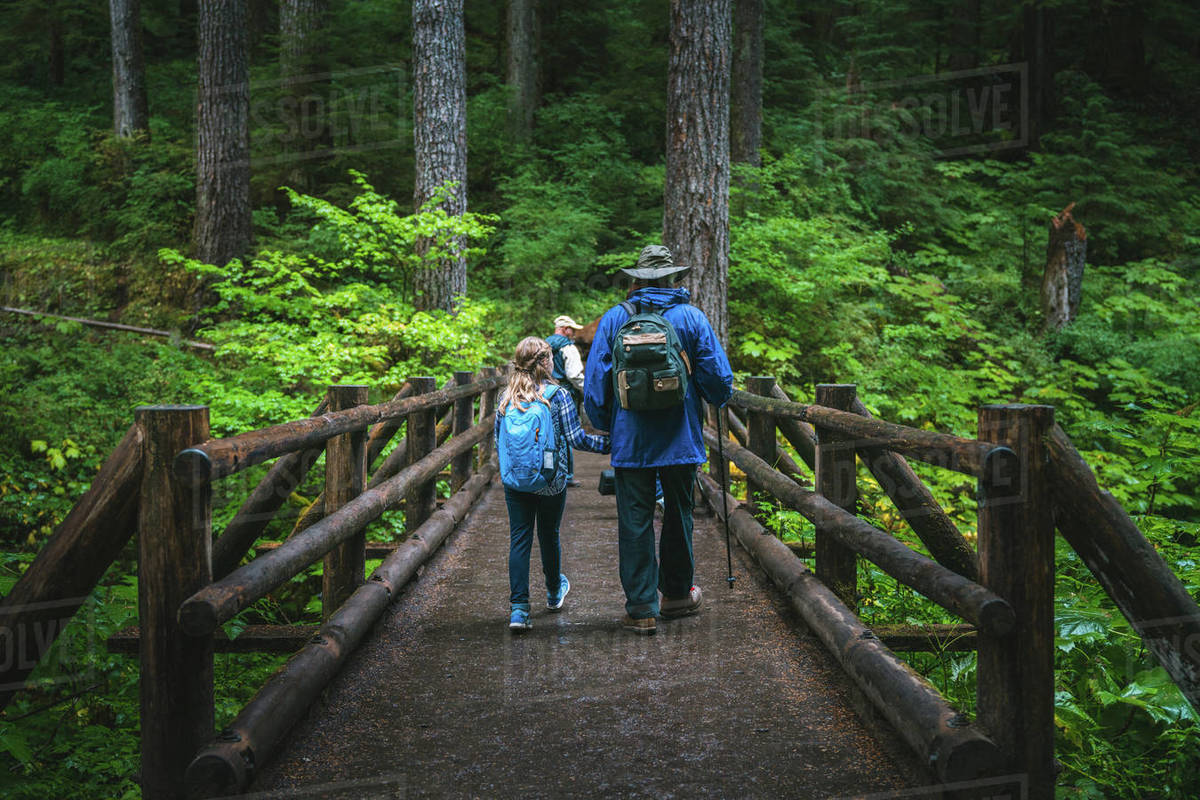 Father and daughter holding hands walking across bridge in forest Royalty-free stock photo