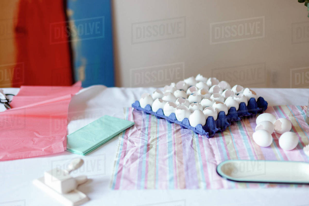 Materials for art project with tissue paper and white eggs Royalty-free stock photo