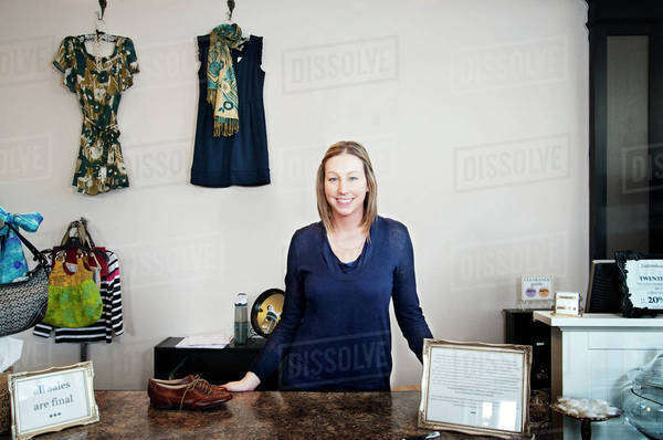 Portrait of small business owner in her store Royalty-free stock photo