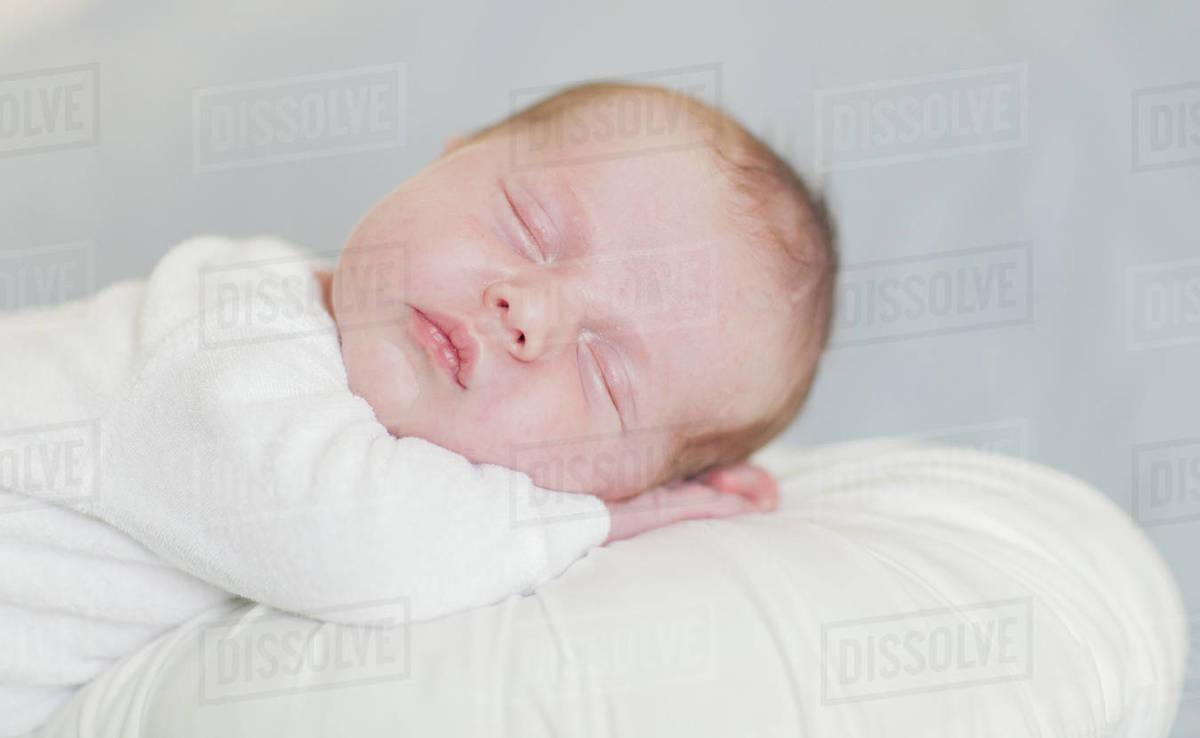 Newborn baby boy sleeping up close Royalty-free stock photo