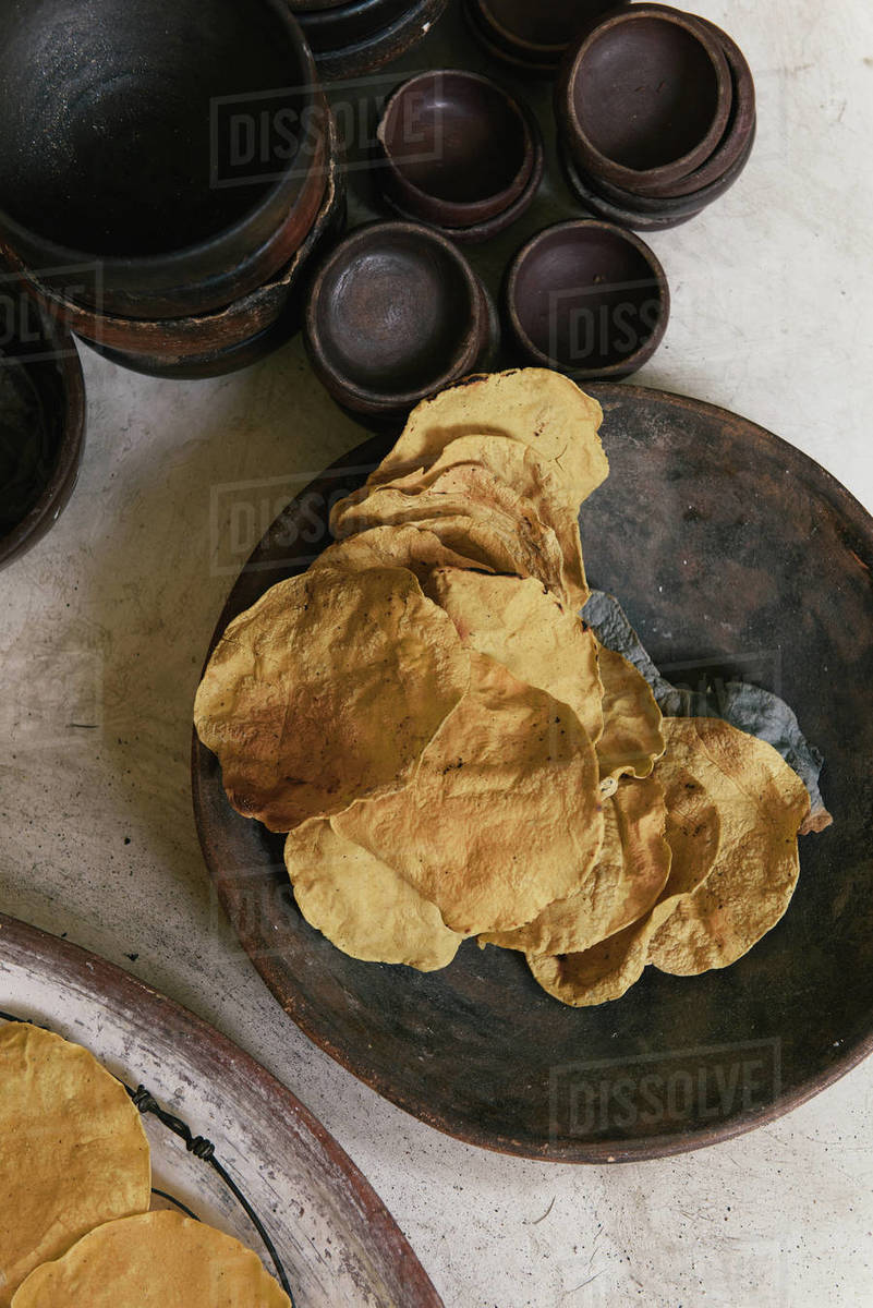 Stacks of freshly cooked tortillas wait for service at a restaurant Royalty-free stock photo