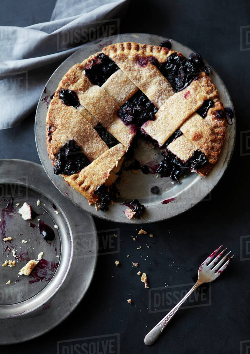 Fresh Baked Blueberry Pie Served Royalty-free stock photo