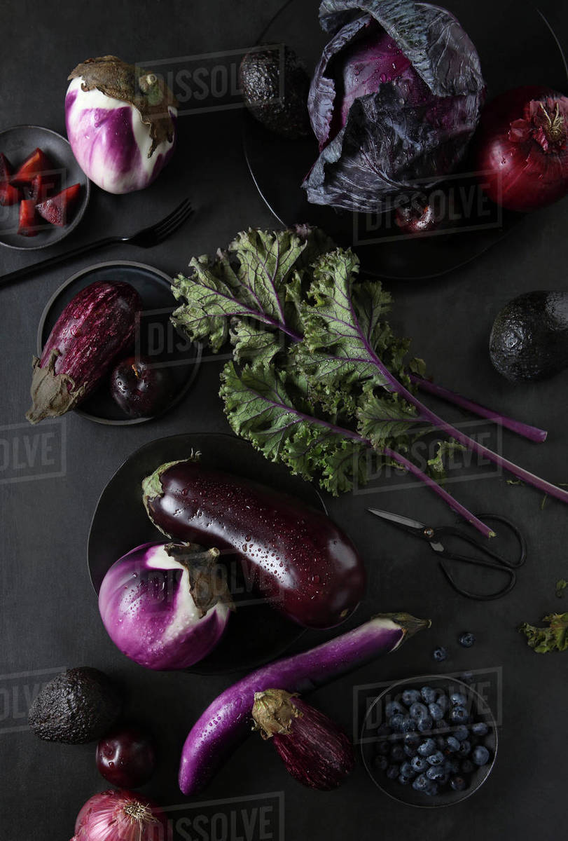 Purple Vegetables and Fruits Still life Royalty-free stock photo