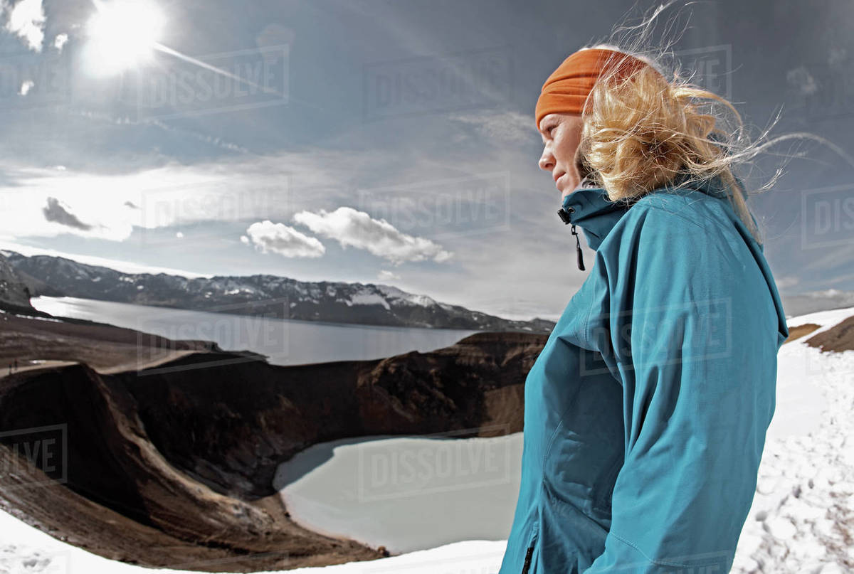 Woman admiring view at the Askja caldera in central Iceland Royalty-free stock photo