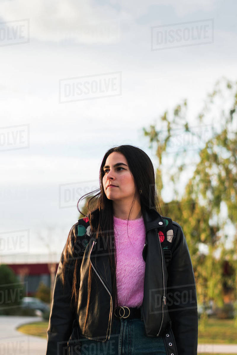 Portrait of a university student walking on the campus Royalty-free stock photo