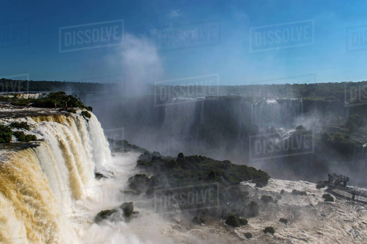 Scenic view of the Iguacu waterfalls in Brazil Royalty-free stock photo