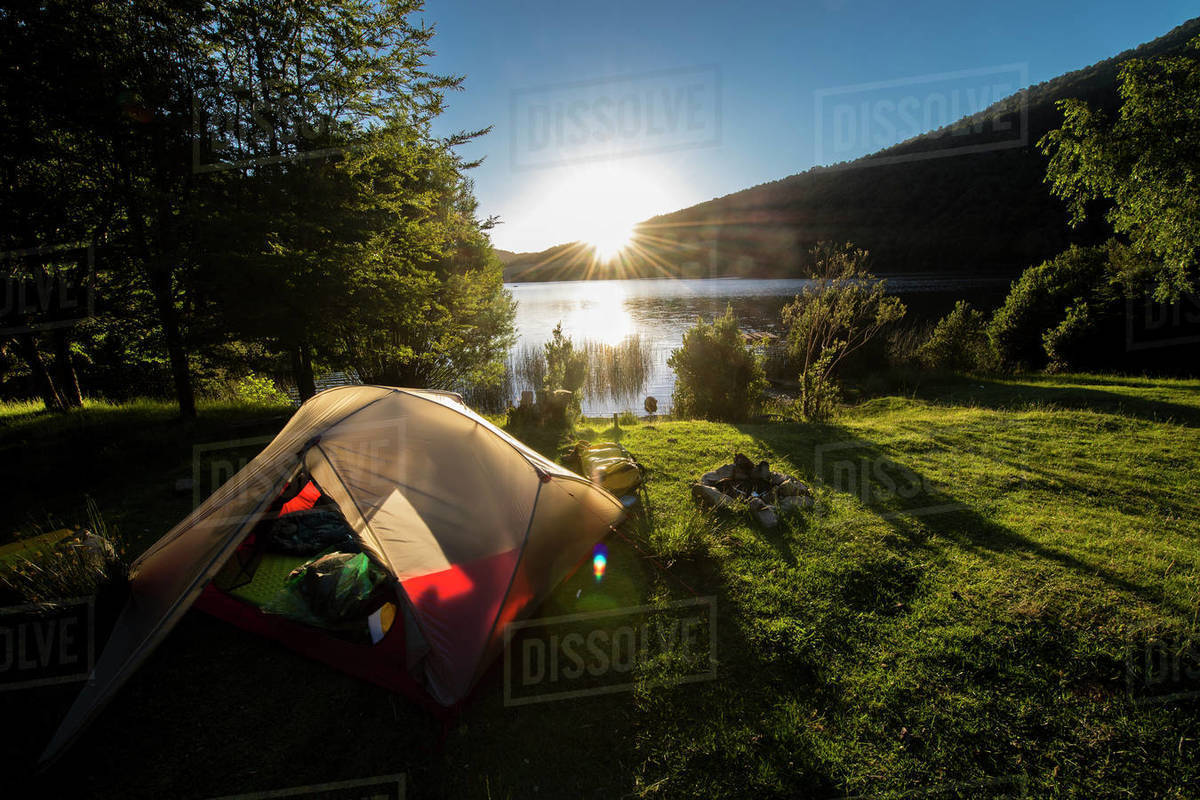 Camping at the Chilean lake district, Pucon, Chile Royalty-free stock photo