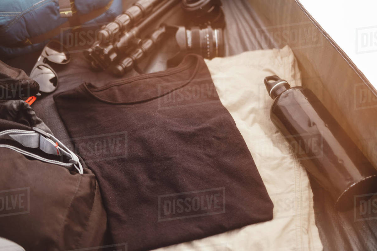 Camping gear inside the tent Royalty-free stock photo