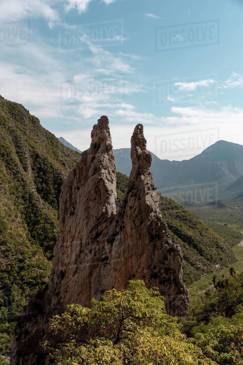Spires in the mountains of Potrero Chico a rock climbing destination Royalty-free stock photo