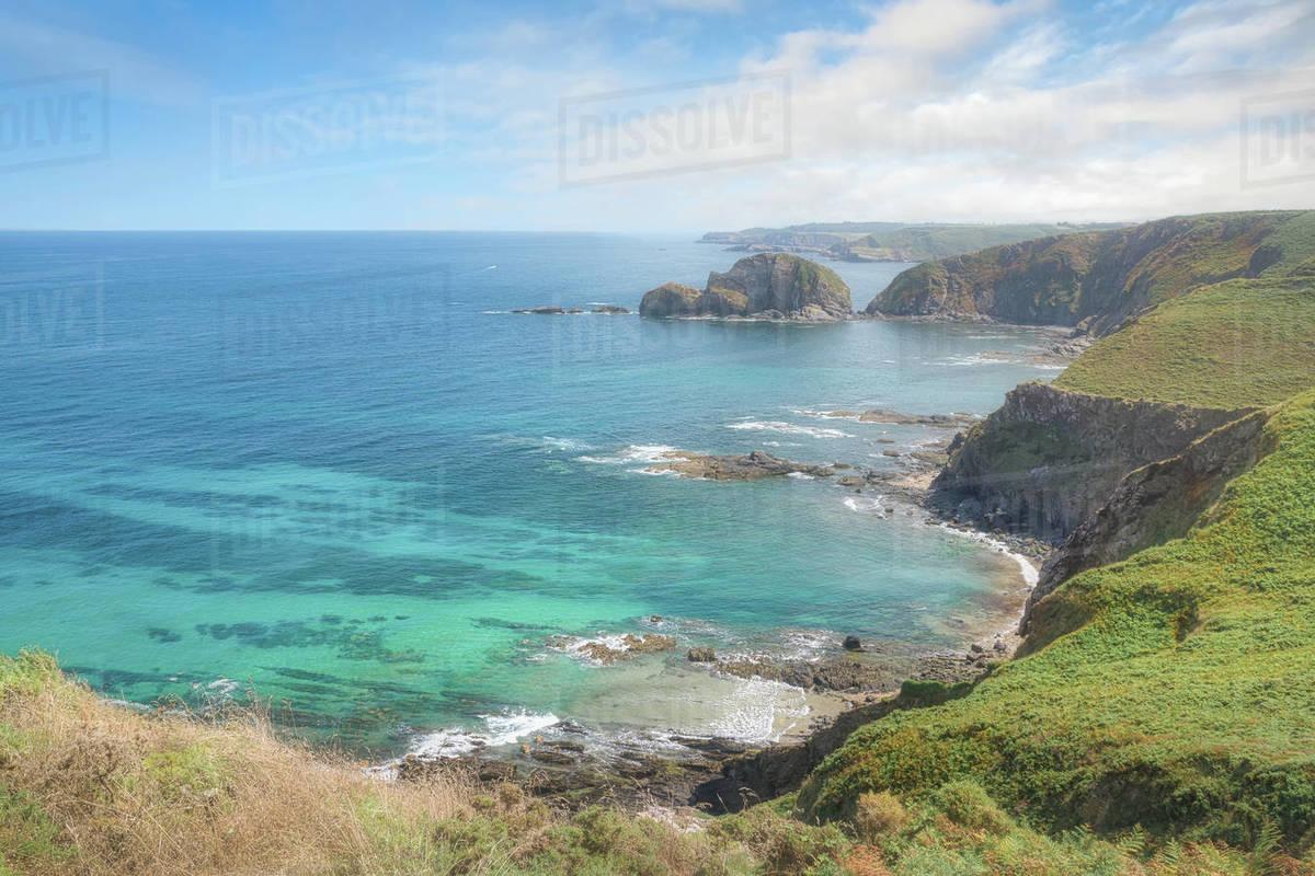 Rocky coastal and sea beautiful view of north Spanish coast Royalty-free stock photo