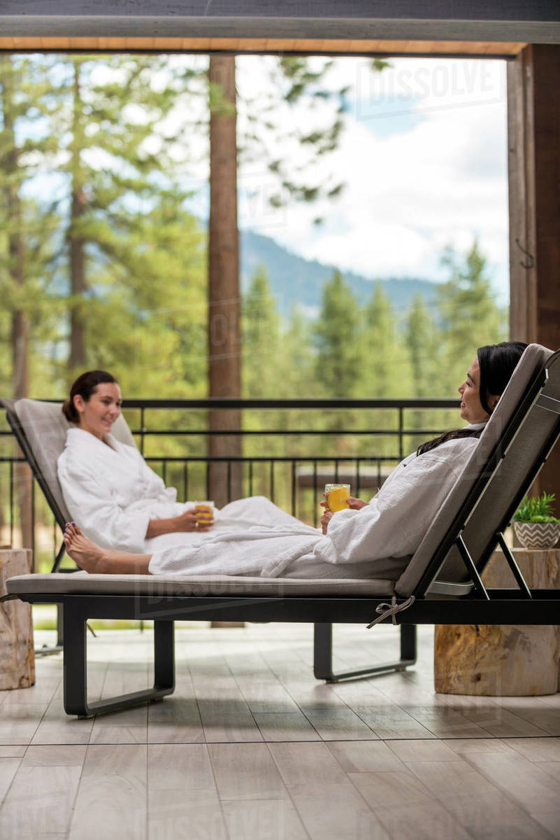 Two women relaxing at the Spa at Edgewood in Stateline, Nevada. Royalty-free stock photo