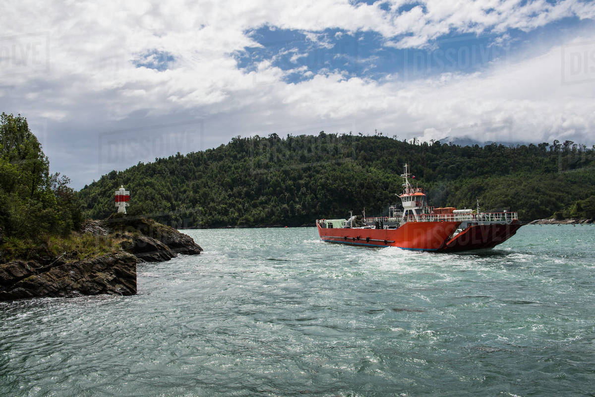 Public ferry in the Los Lagos region in Patagonia Royalty-free stock photo