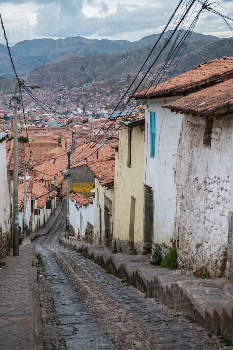 Steep street in Cusco, Peru Royalty-free stock photo
