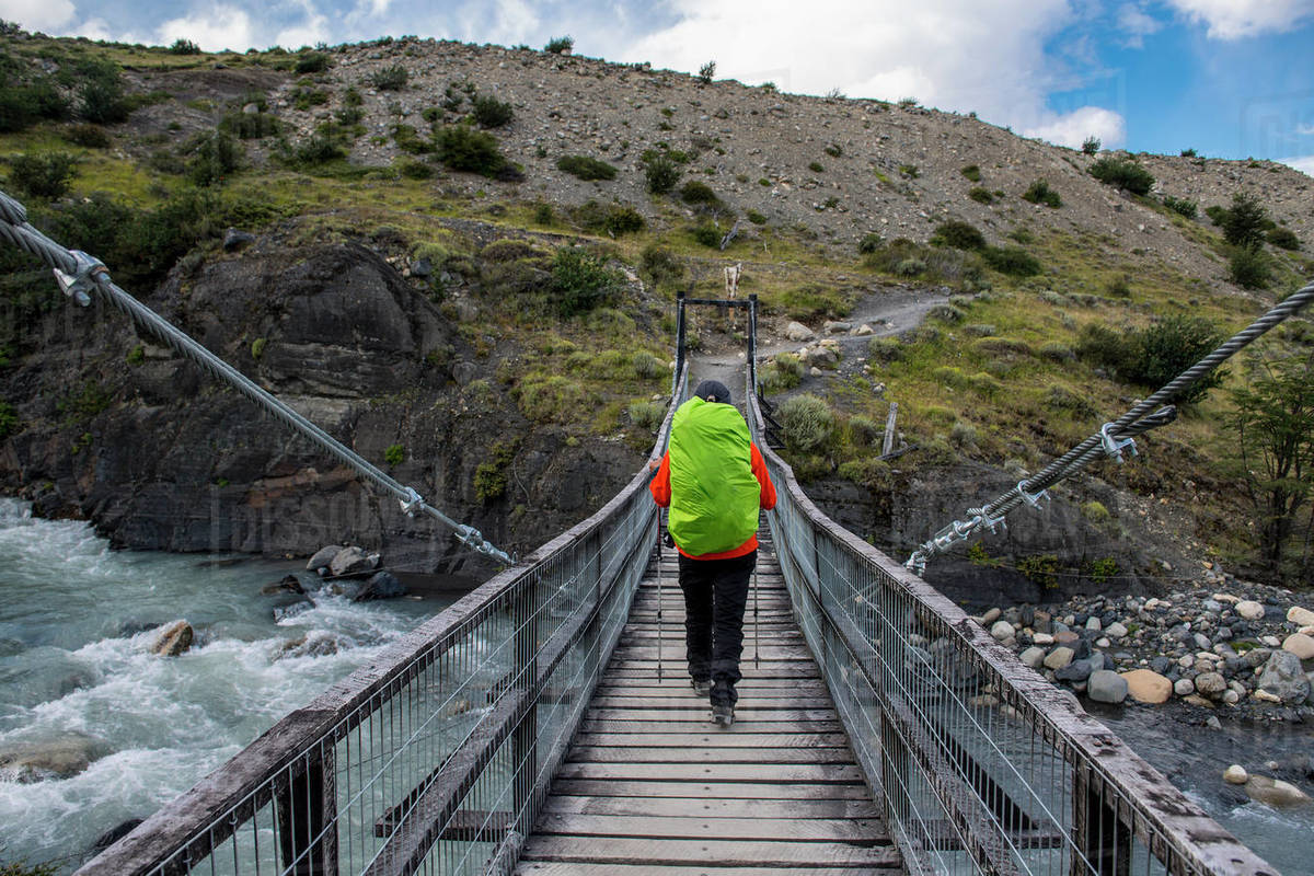 Female hiker on the way up to Torres del Paine National Park Royalty-free stock photo