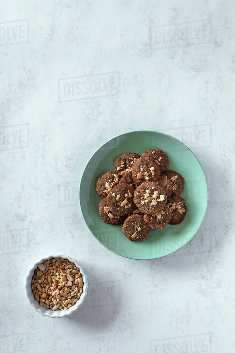 Overhead view of homemade cookies served in a plate Royalty-free stock photo