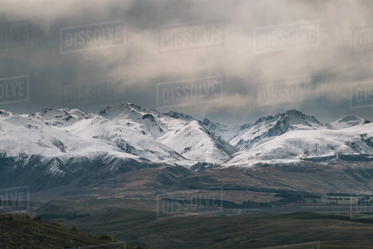Rugged alpine mountains with snow capped peaks South Island New Zealand Royalty-free stock photo