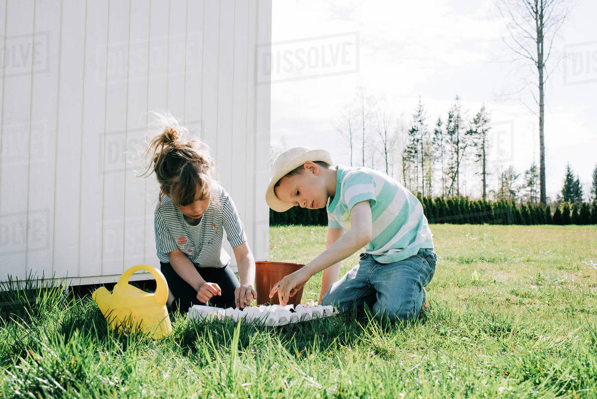 Kids planting seeds in egg shells in the garden at home outside Royalty-free stock photo