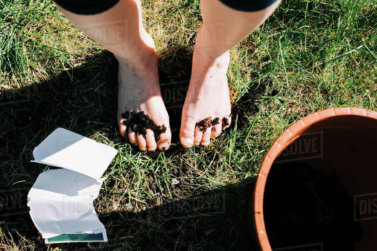 Girls feet covered in soil and seeds from planting in the garden Royalty-free stock photo