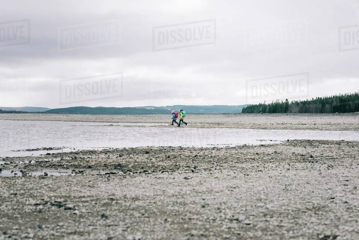 Siblings in the distance hiking together by the water and mountains Royalty-free stock photo