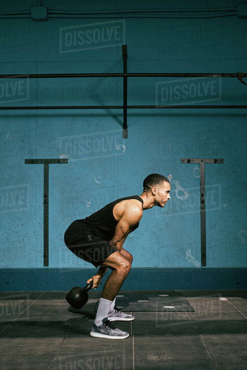 African American male athlete exercising in the gym Royalty-free stock photo