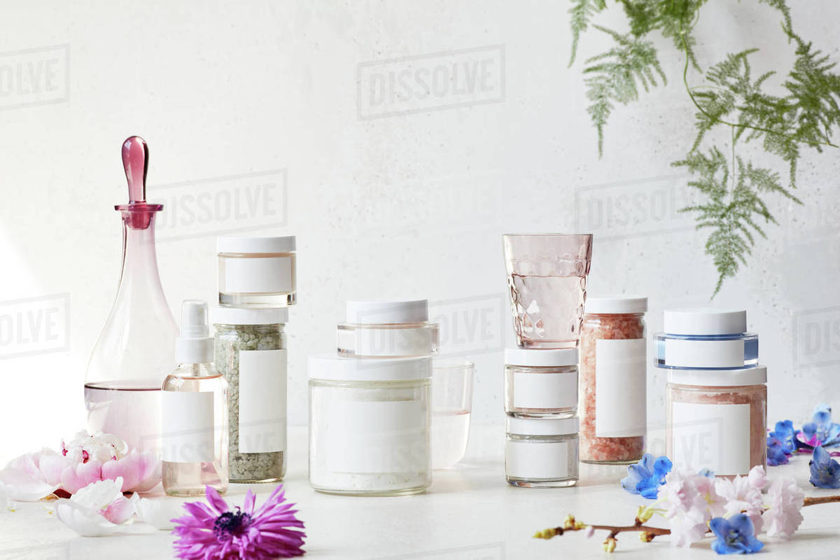 Still life display of skin care products Royalty-free stock photo