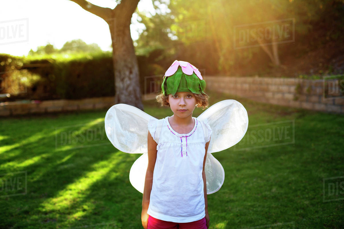 Girl (8-9) in butterfly costume Royalty-free stock photo