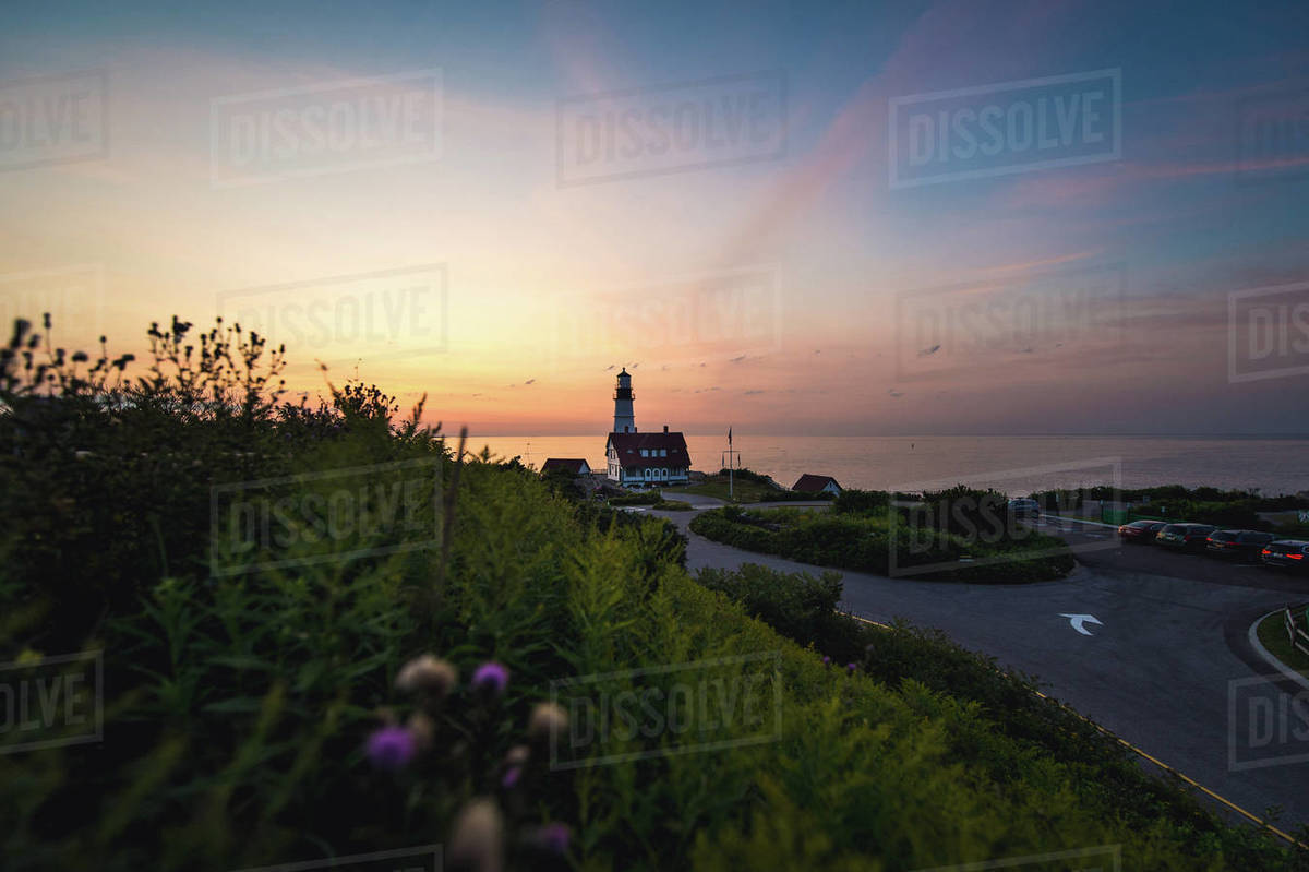 Sunrise at the Portland Head Light lighthouse in Maine Royalty-free stock photo