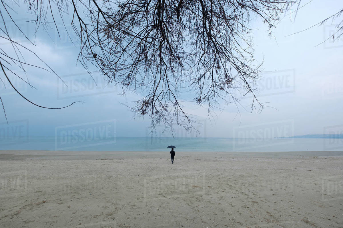 Woman walking to the sea with an umbrella Royalty-free stock photo