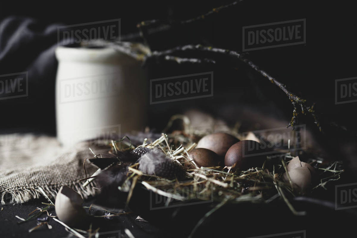 Still life of dark brown eggs with crock in background Royalty-free stock photo
