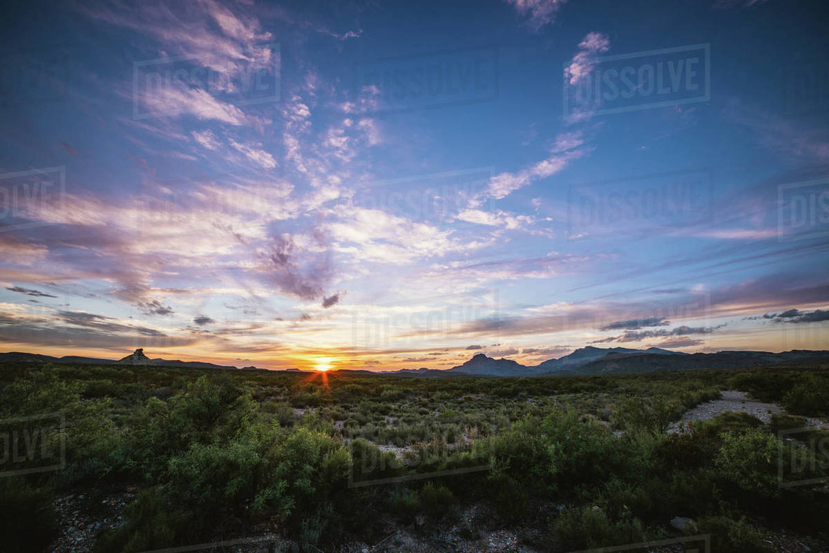 A colorful sunset over the desert in Big Bend National Park, Texas Royalty-free stock photo