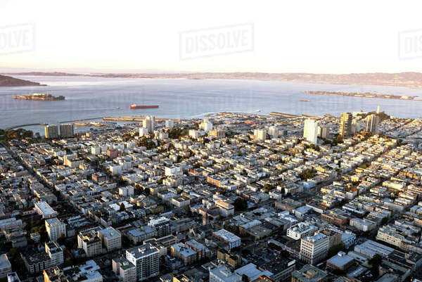 Aerial view of cityscape and bay against clear sky Royalty-free stock photo
