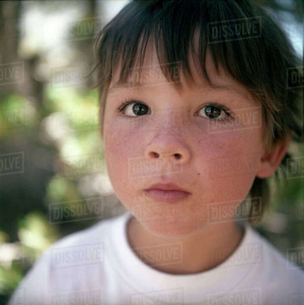 Close-up of boy with freckles Royalty-free stock photo