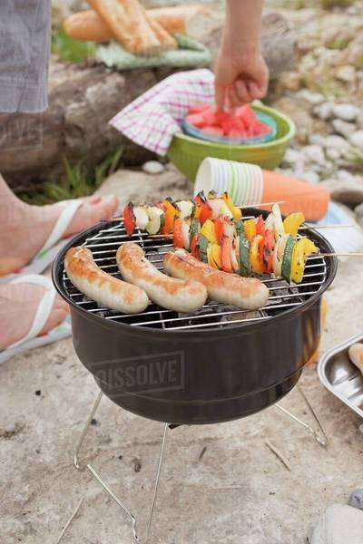 Barbecue on a river bank Royalty-free stock photo