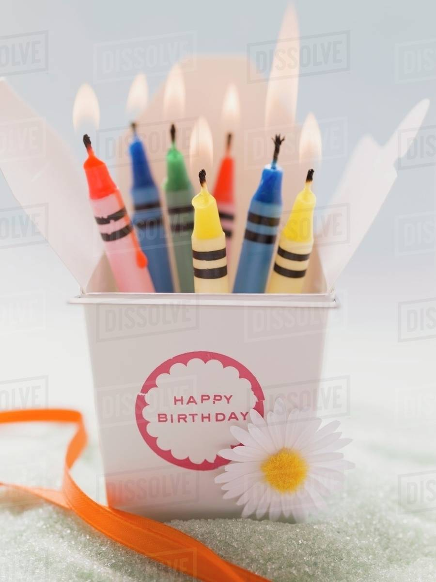 crayon birthday candles lit stock photo dissolve