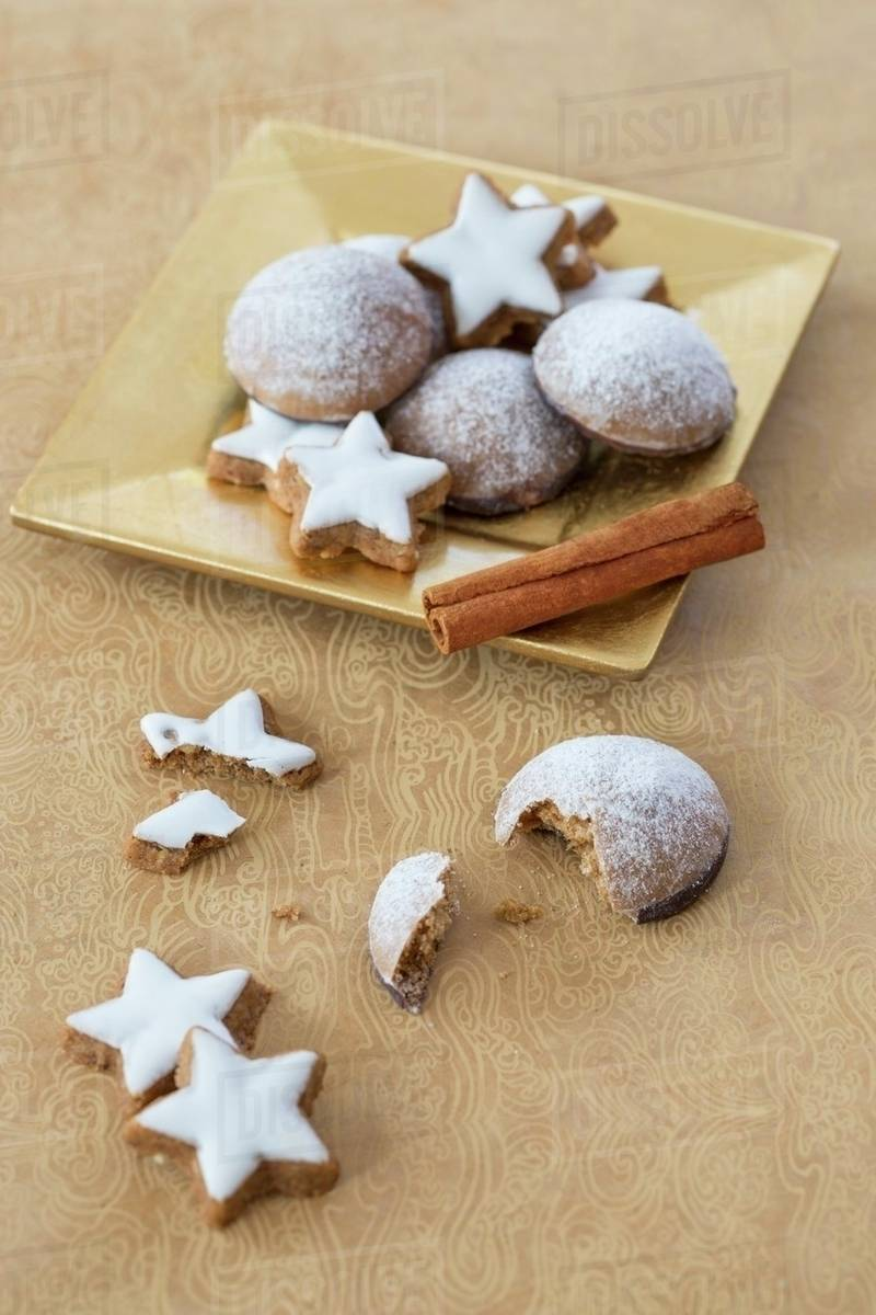 Cinnamon Stars And Lebkuchen Spiced Soft Gingerbread From Germany Stock Photo