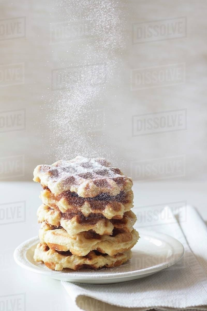 Belgian waffles with icing sugar
