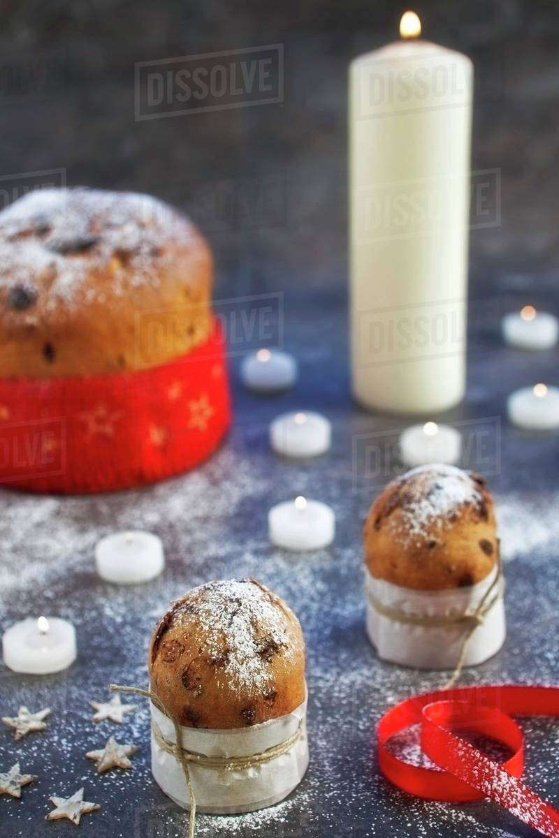 Italian Christmas Cake.Panettone Italian Christmas Cake Stock Photo