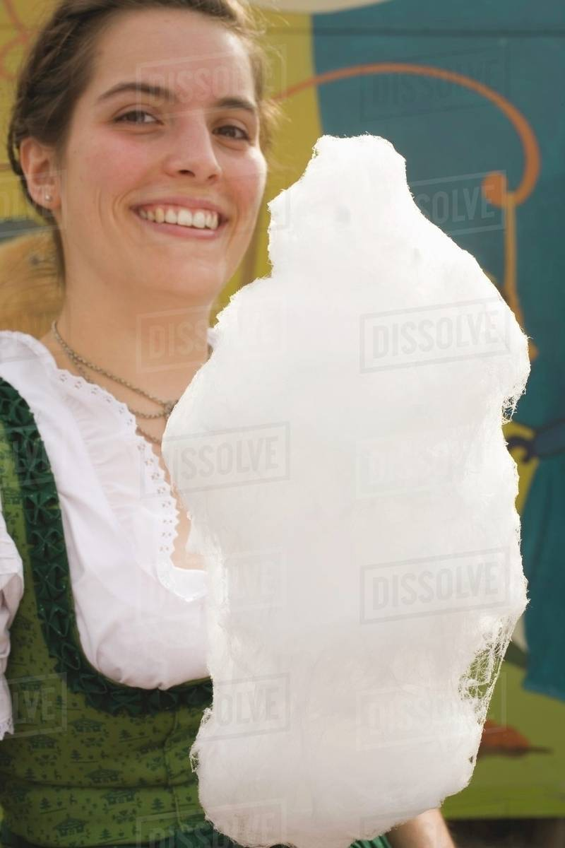 Woman holding candyfloss (Oktoberfest, Munich) Royalty-free stock photo