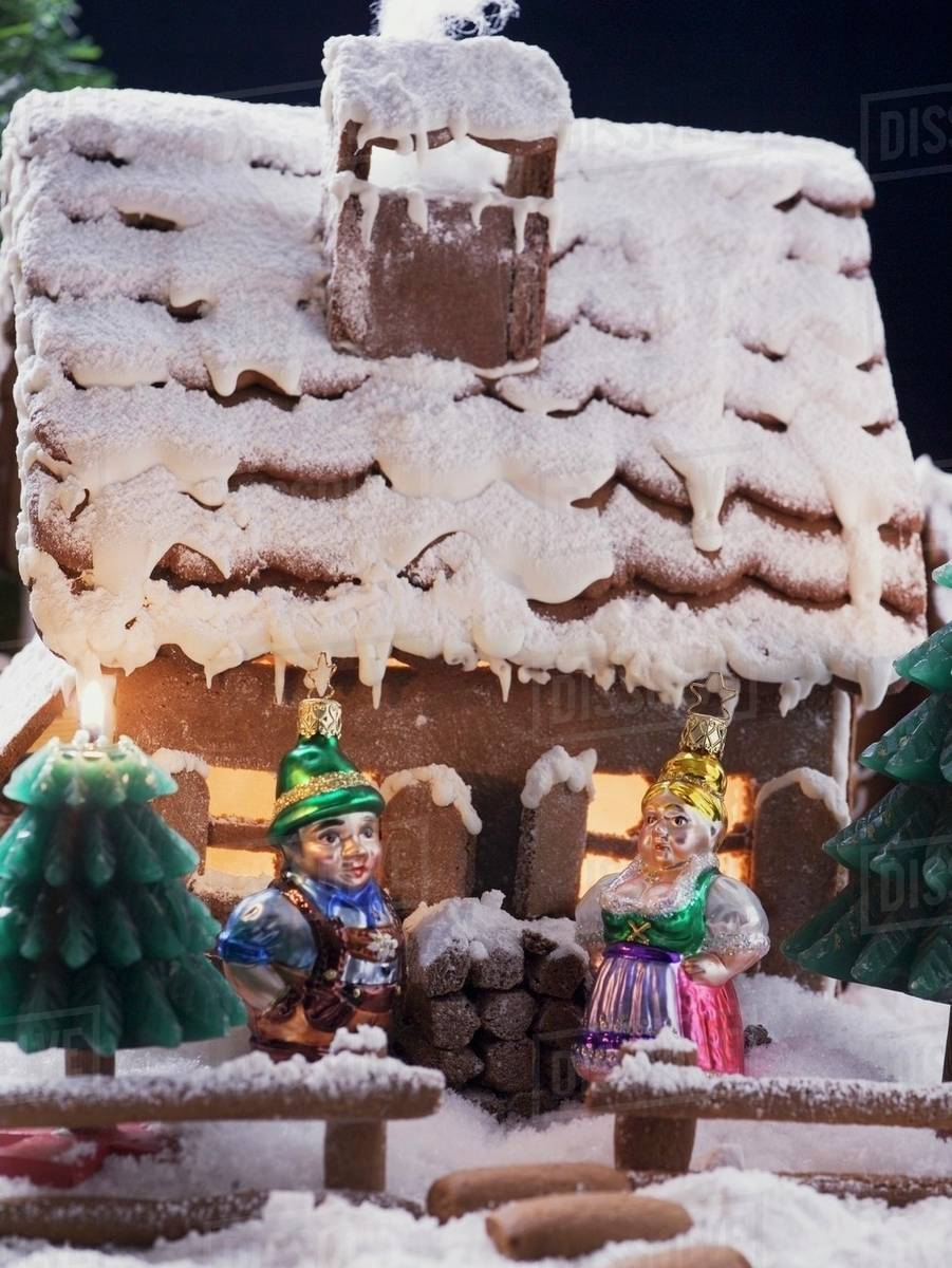 Gingerbread House With Christmas Tree Ornaments Stock Photo